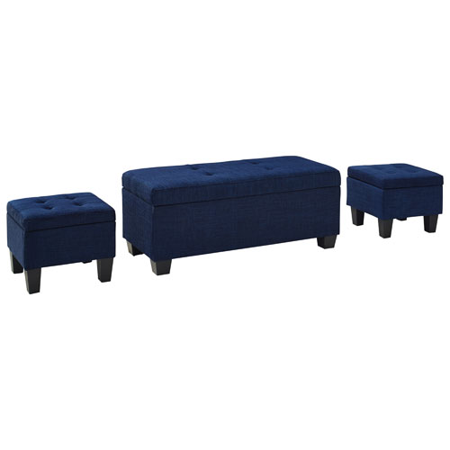 Ethan 3Piece Storage Ottoman Set Blue Ottomans Best Buy Canada