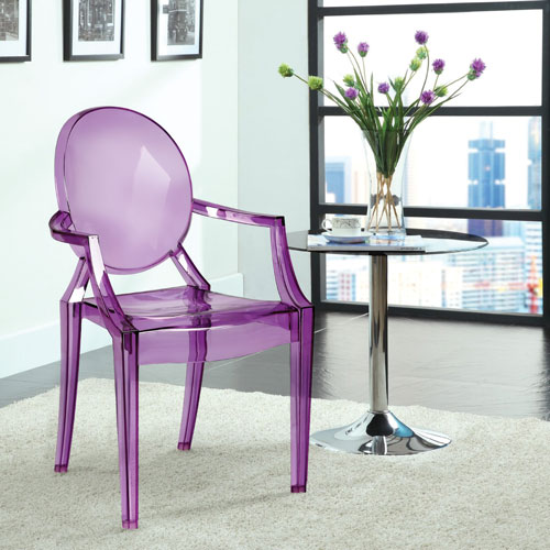 Efron Modern Ghost Chair   Set Of 2   Transparent Purple