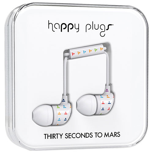 Écouteurs intra-auriculaires à isolation sonore Thirty Seconds to Mars de Happy Plugs - Blanc