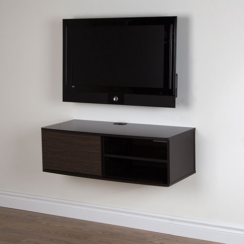 "South Shore Agora 38"" Wall Mounted Media Console - Chocolate/ Zebrano"