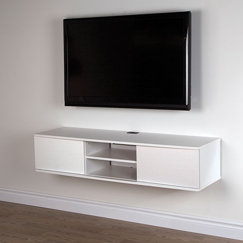 "South Shore Agora 56"" Wall Mounted Media Console - Pure White"