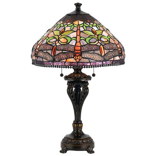 Lampe de table Lycon - Vitrail - Bronze foncé