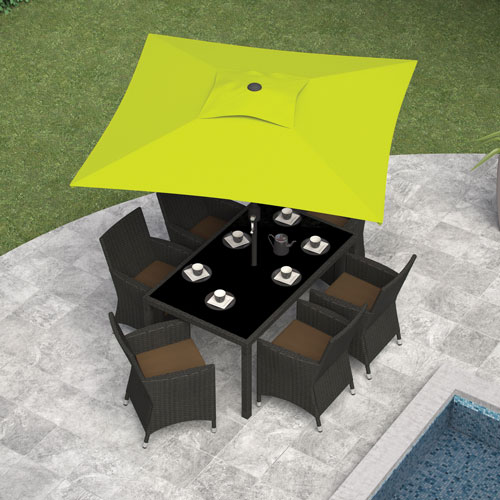 CorLiving Collapsible 6.3 ft. Square Patio Umbrella - Lime Green