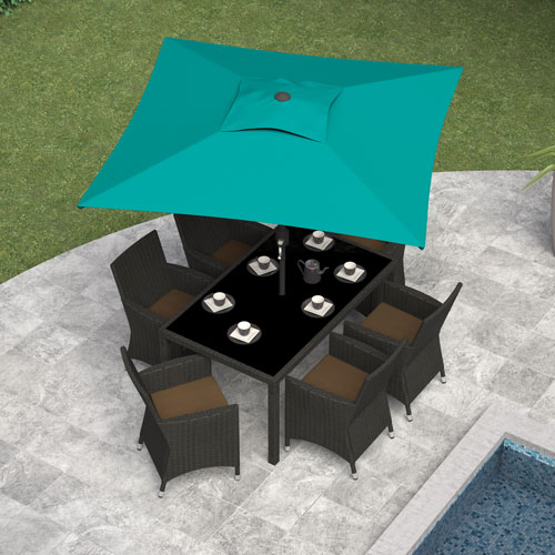 CorLiving Collapsible 6.3 ft. Square Patio Umbrella - Turquoise Blue