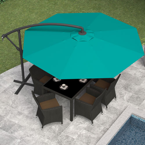 Offset Patio Umbrella - Turquoise Blue & CorLiving Collapsible 11 ft. Offset Patio Umbrella - Turquoise Blue ...