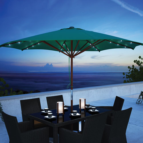 CorLiving Collapsible 8.6 ft. Wooden Patio Umbrella with LED Lights - Green
