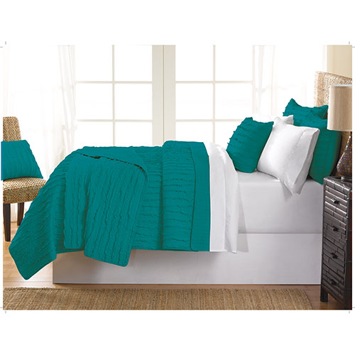 Gouchee Design Ruffle Collection 140 Thread Count Cotton Quilt Set - Double/Full - Teal