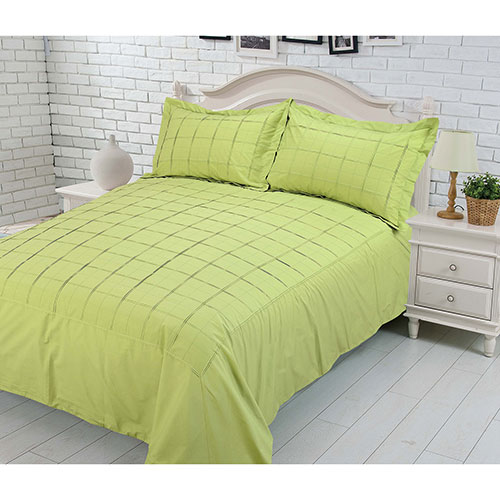 Gouchee Design Damier Collection 200 Thread Count Cotton Duvet Cover Set - Queen - Lime
