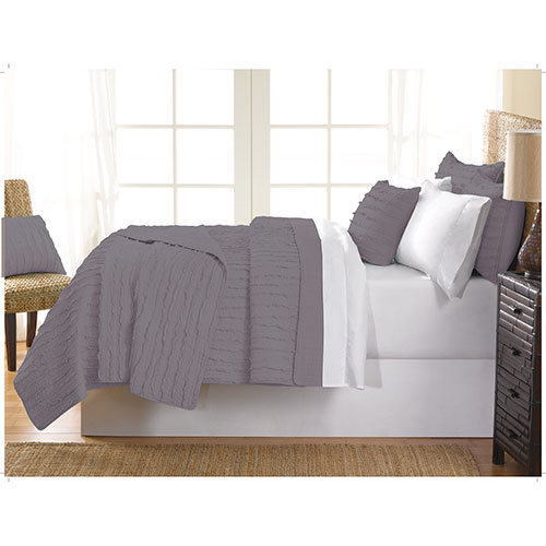 Gouchee Design Ruffle Collection 140 Thread Count Cotton Quilt Set - Single/Twin - Grey