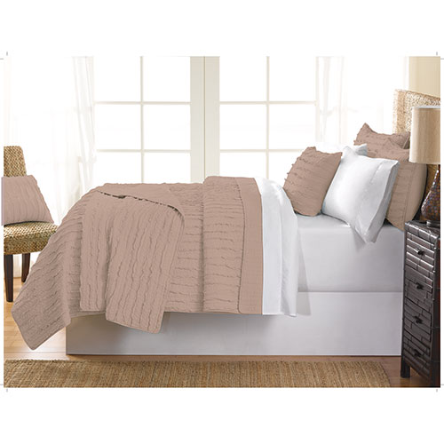 Gouchee Design Ruffle Collection 140 Thread Count Cotton Quilt Set - Single/Twin - Beige