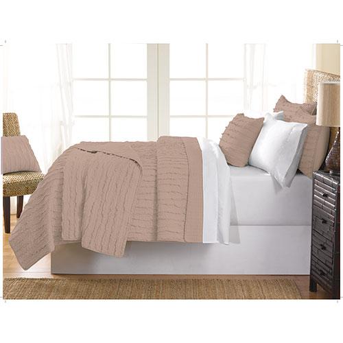 Gouchee Design Ruffle Collection 140 Thread Count Cotton Quilt Set - Queen - Beige