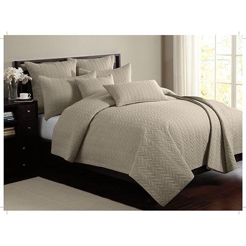 Ens. mat. toutes saisons en coton cont. 140 Leaf Solid de Gouchee Design- Très grand lit- Taupe