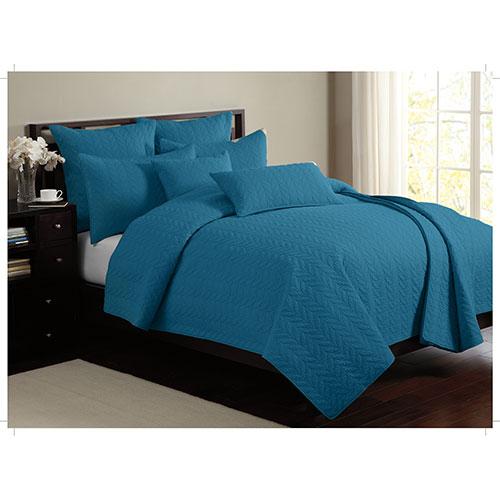 Ens. mat. toutes saisons en coton cont. 140 Leaf Solid de Gouchee Design- Très grand lit- Sarcelle