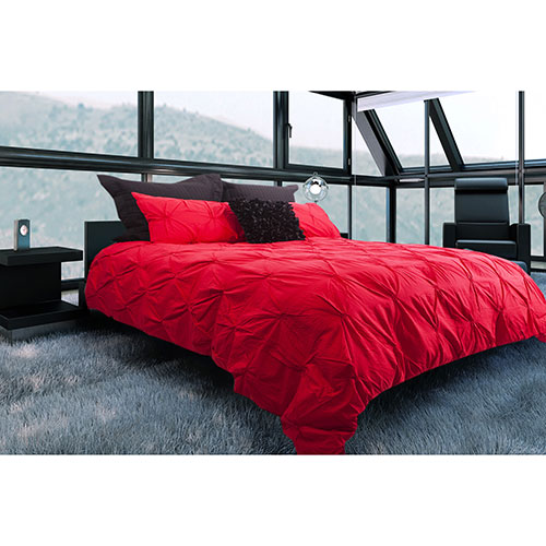 ens housse de couette en coton contexture 200 victoria de gouchee design grand lit rouge. Black Bedroom Furniture Sets. Home Design Ideas