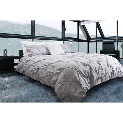Ens. housse de couette en coton contexture 200 Victoria de Gouchee Design - Grand lit - Argenté
