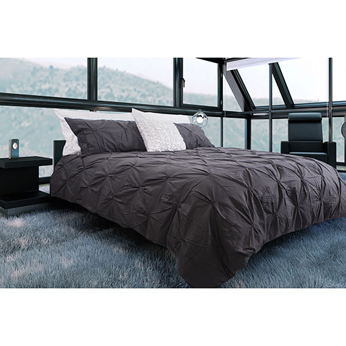 Gouchee Design Victoria Collection 200 Thread Count Cotton Duvet Cover Set - Queen - Charcoal