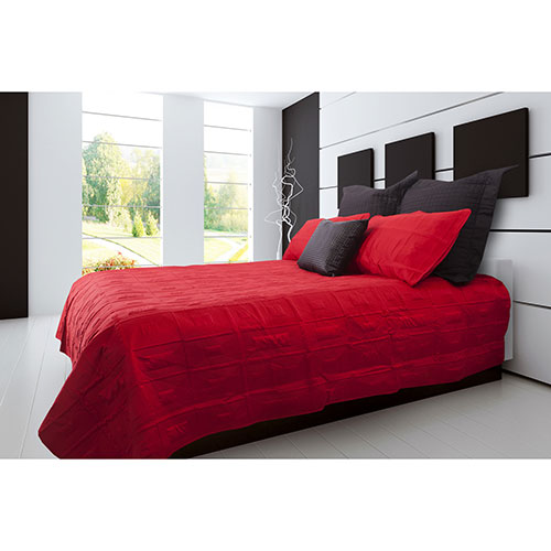 Ens. matelassé en satin brossé de la collection Brick Lane de Gouchee Design - Grand lit - Rouge
