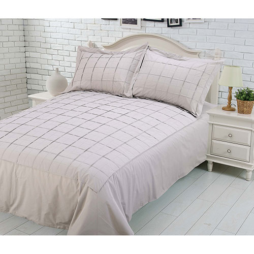 Gouchee Design Damier Collection 200 Thread Count Cotton Duvet Cover Set - Single/Twin - Beige