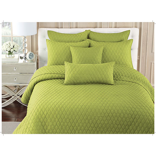 Gouchee Design Ogee Collection 140 Thread Count Cotton Quilt Set - Single/Twin - Lime