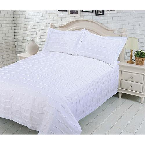 Ensemble housse de couette coton contexture 200 L'Echelle Gouchee Design - Très grand lit - Blanc