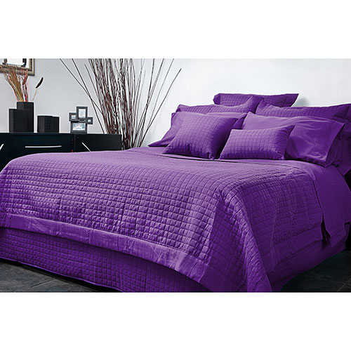 Ensemble housse de douillette en microfibre collection Grid de Gouchee Design - Grand lit - Violet