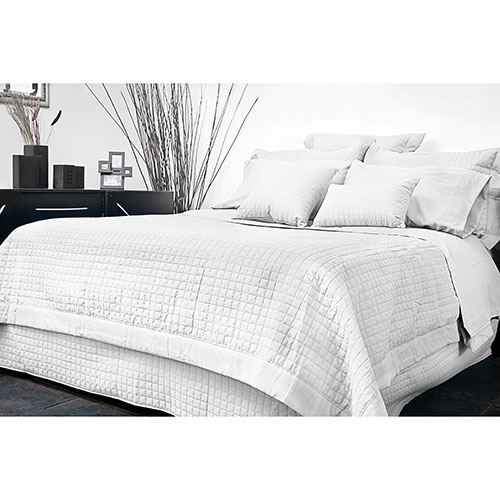 Ensemble housse de couette en microfibre collection Grid de Gouchee Design - Grand lit - Blanc