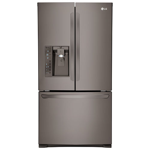 "LG 35.7"" 24 Cu. Ft. French Door Refrigerator (LFXC24726D) - Black Stainless"