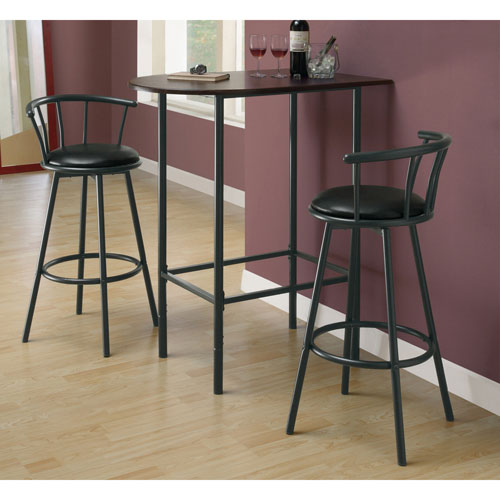 tabouret de bar hauteur de comptoir de style moderne ensemble de 2 noir tabourets de bar. Black Bedroom Furniture Sets. Home Design Ideas