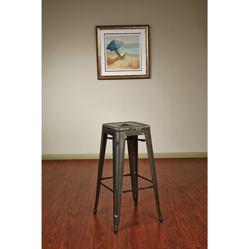 Bristow Contemporary Bar Height Bar Stool Set Of 4 Gunmetal