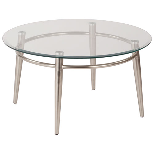 Avenue Six Brooklyn Round Glass-Top Coffee Table : Coffee