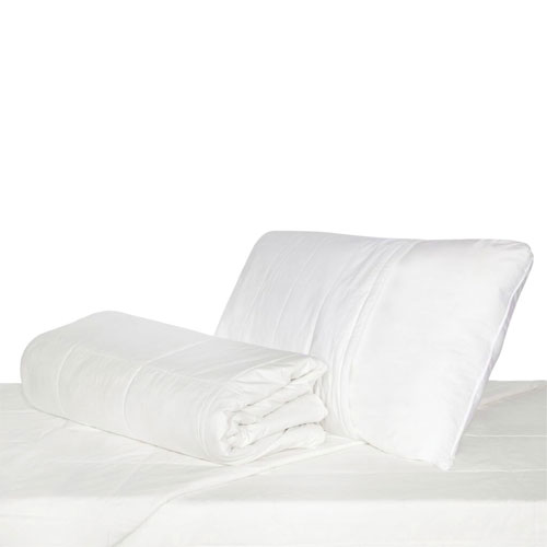 LuxeportPURE 233 Thread Count Silk 4 Seasons Duvet with Mattress & Pillow Protector - Single - White