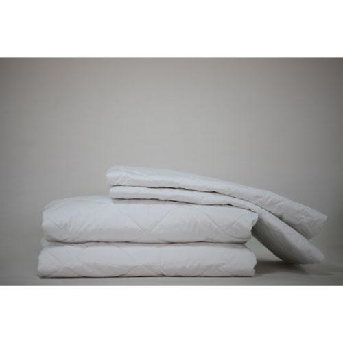 LuxeportZEN Collection 200 Thread Count Silk/Cotton Mattress & Pillow Protector Set - Queen - White