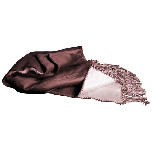 Luxeport Bamboo Rayon Fringed Throw - Brown/Ivory