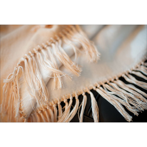 Luxeport Bamboo Rayon Fringed Throw - Ivory/Camel