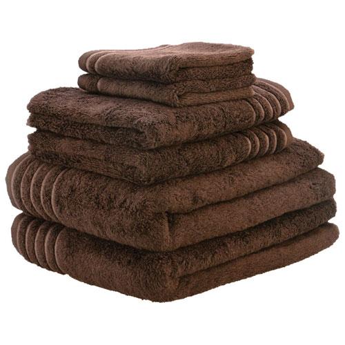 Ensemble de serviettes de 6 pièces en rayonne de bambou/coton LuxeportSPA - Brun chocolat