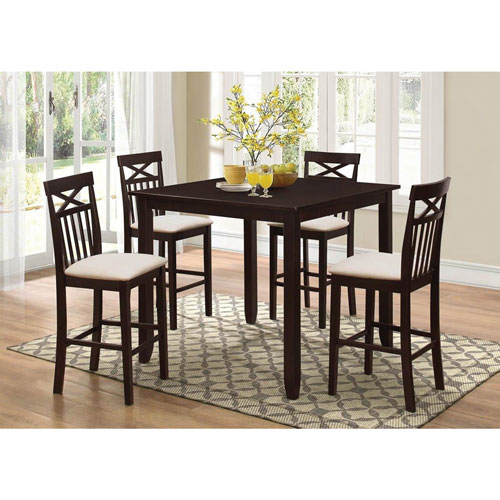 clayton 5piece counter height dining set merlot