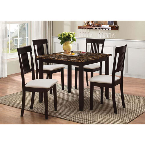 Nicole Transitional 5 Piece Casual Dining Table U0026 Chair Set   Merlot