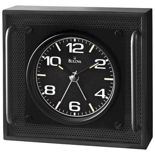 Bulova Impulse Analog Alarm Clock - Black