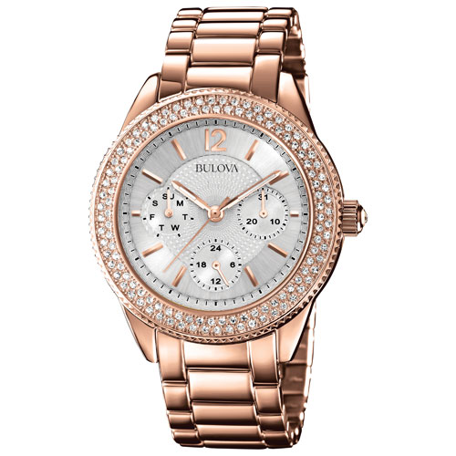 Bulova women 39 s analog dress watch with swarovski crystal bezel rose gold womens watches for Swarovski crystals watch