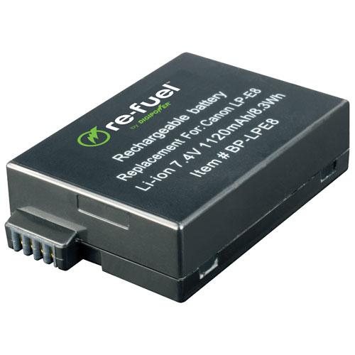 Batterie au lithium-ion Re-Fuel pour appareils photo reflex numériques de Canon (RF-LPE8)