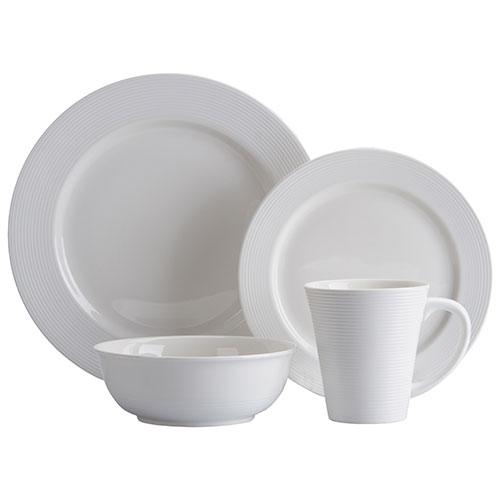 Brilliant Linen Round 16-Piece Dinnerware Set - White