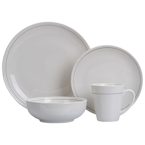 Brilliant Tokyo Round 16-Piece Dinnerware Set - White/ Platinum