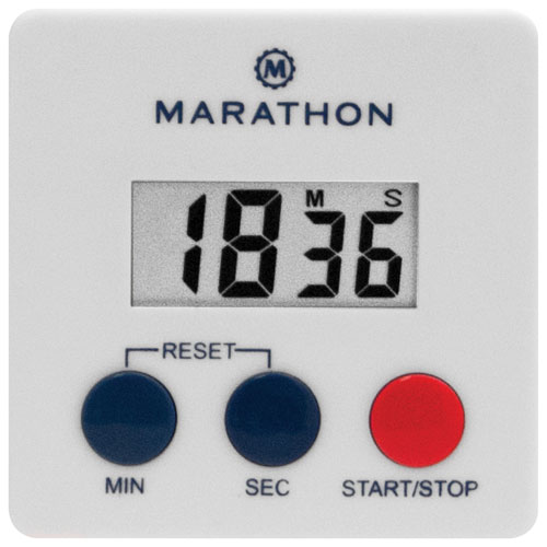 Marathon 100-Minute Large Display Timer with Magnetic Clip - White
