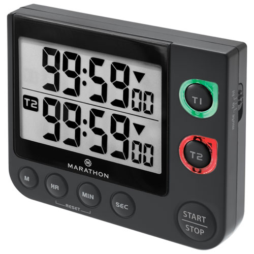 Marathon 100 Hour Large Display Dual Timer with Magnetic Clip-On & Stand - Black
