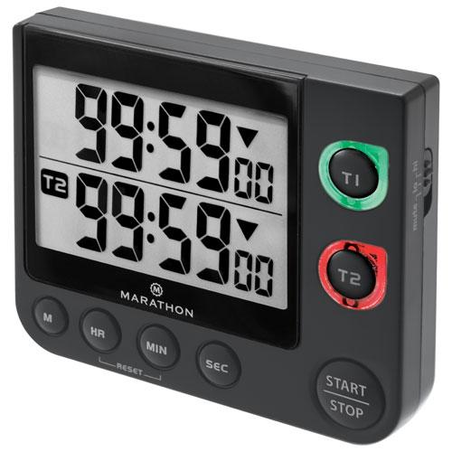 Minuterie double avec grand affichage, pince magnétique et support 100 heures de Marathon - Noir