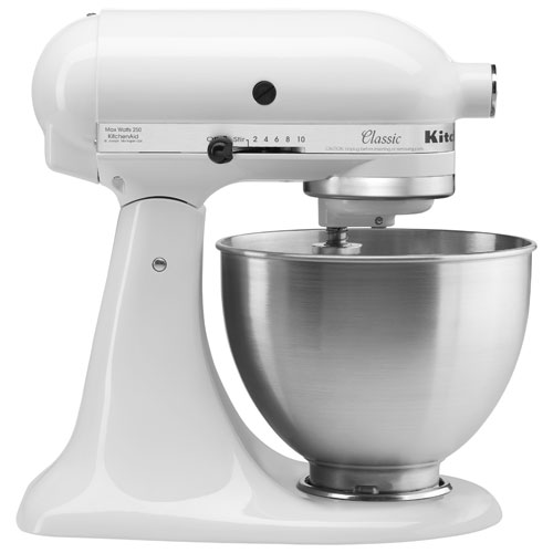 kitchenaid classic stand mixer 4 5qt 250 watt white stand mixers best buy canada. Black Bedroom Furniture Sets. Home Design Ideas