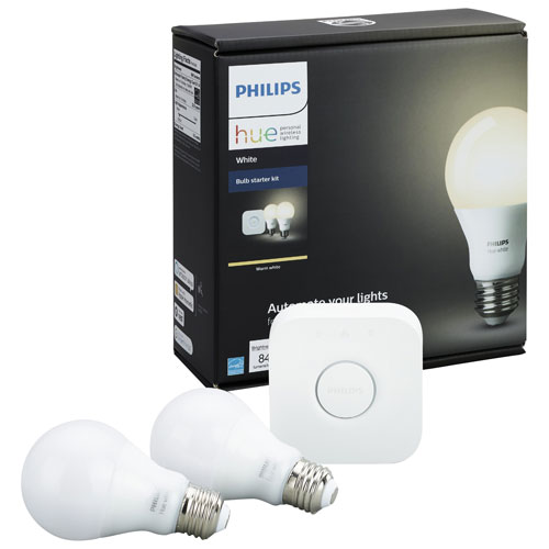 Trousse de démarrage avec ampoules DEL connectées HUE A19 de Philips - Blanc