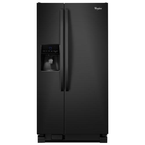 "Whirlpool 33"" 21.3 Cu. Ft. Side-by-Side Refrigerator (WRS342FIAB) - Black"