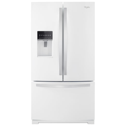 """Whirlpool 36"""" 26.8 Cu. Ft. French-Door Refrigerator with Ice & Water Dispenser - White"""