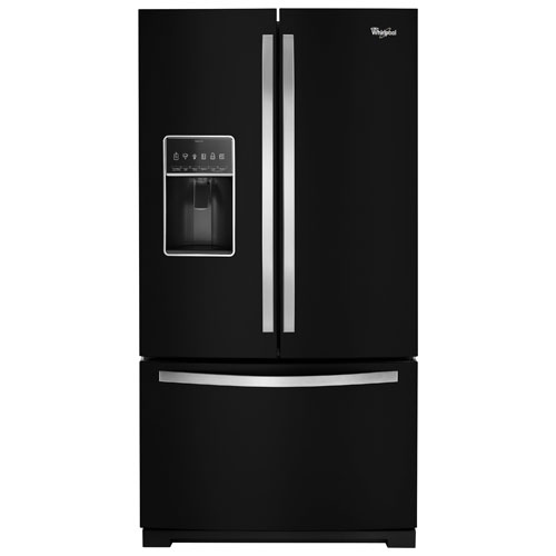 """Whirlpool 36"""" 26.8 Cu. Ft. French-Door Refrigerator with Ice & Water Dispenser - Black"""